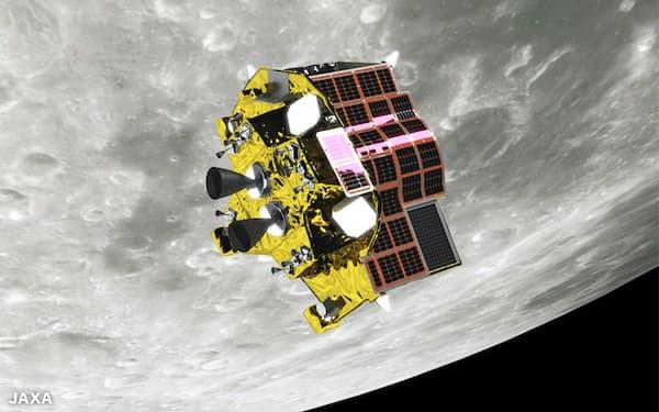 月面のピンポイント着陸を狙う小型月着陸実証機(SLIM)のイメージ図(JAXA宇宙科学研究所提供)
