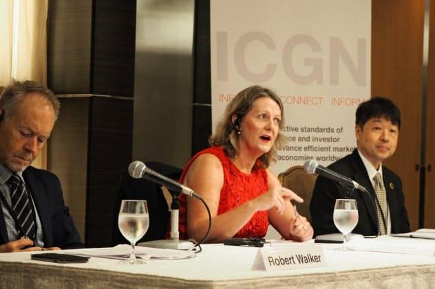 世界の投資家で組織する「ICGN」は日本企業にさらなるガバナンス改革を提言した(東京で催した年次総会の会見、7月16日)