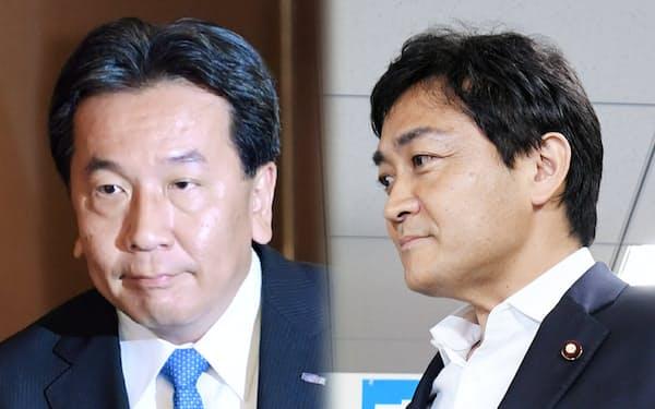 開票センターに入る立憲民主党の枝野代表(写真左)と国民民主党の玉木代表(21日、東京都内)