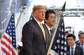 トランプ米大統領は参院選後まで日米の貿易交渉を待つ意向を示していた(5月、横須賀市)