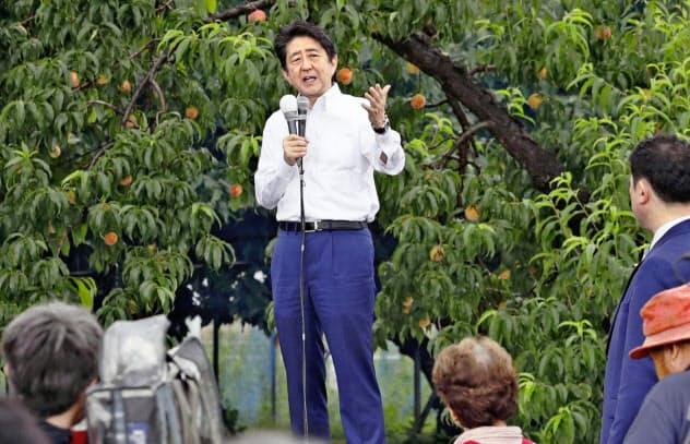 安倍首相は福島市内の果樹園で参院選の第一声を上げた(4日)=共同