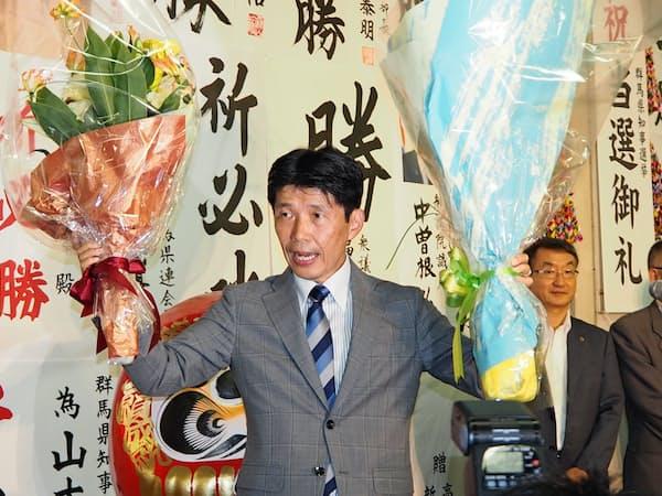 群馬県知事に初当選した山本一太氏(21日、前橋市)