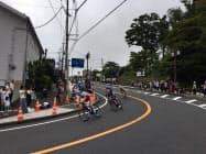 21日のテストイベントでは選手が集まり約179キロメートルを実走した(静岡県小山町)