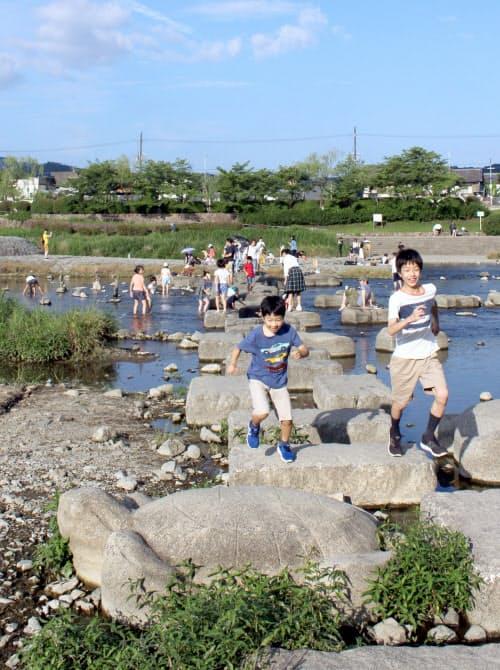 ランドマークの亀形の飛び石(京都市左京区)