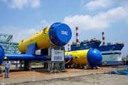 IHIは大規模な水中浮遊式海流発電システムの商用化を目指す(25日、横浜市)