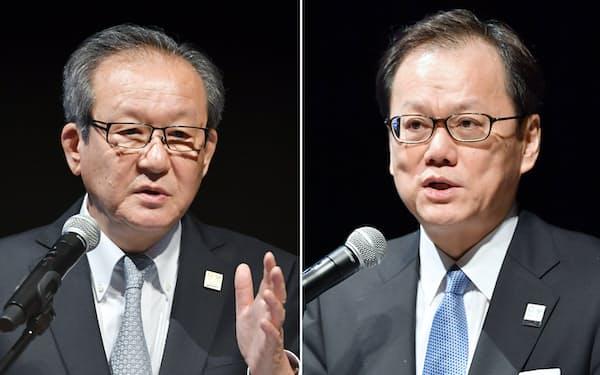 日経2020フォーラムで講演したみずほFGの坂井辰史社長(右)とアシックスの尾山基会長