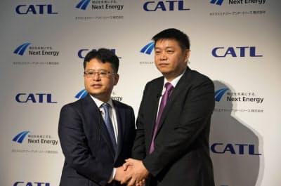 CATLはネクストエナジーと組み、日本の蓄電池市場に参入する(25日、都内)