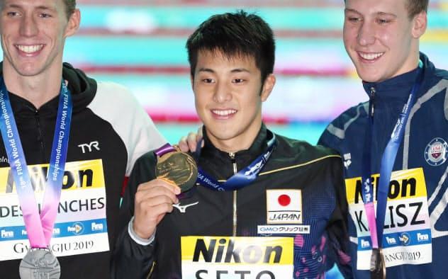 瀬戸が200個メで金、東京五輪代表内定 世界水泳