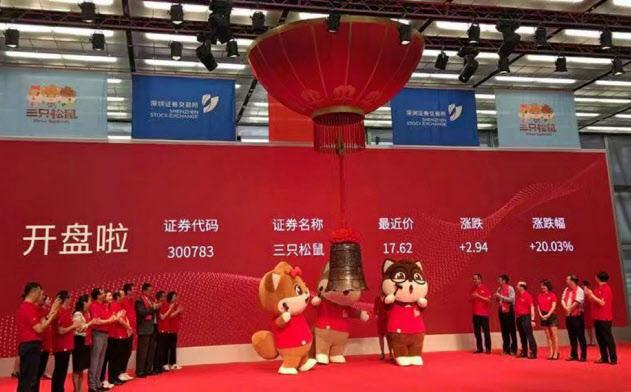 菓子製造「三只松鼠」は深圳証券取引所の新興企業向け市場「創業板」に上場した=零售老板内参提供