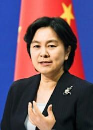 中国外務省の華春瑩報道局長(7月23日、北京)=共同