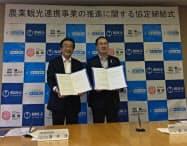 山形県鶴岡市の皆川治市長(右)と連携協定を結んだ阪急交通社(25日、鶴岡市)