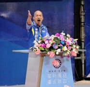 台湾・国民党の公認候補として次期総統選に出馬することが決まった韓国瑜・高雄市長(28日、新北市内の党大会)