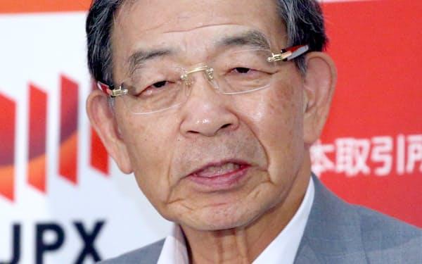 記者会見する日本取引所グループの清田CEO(30日、東証)