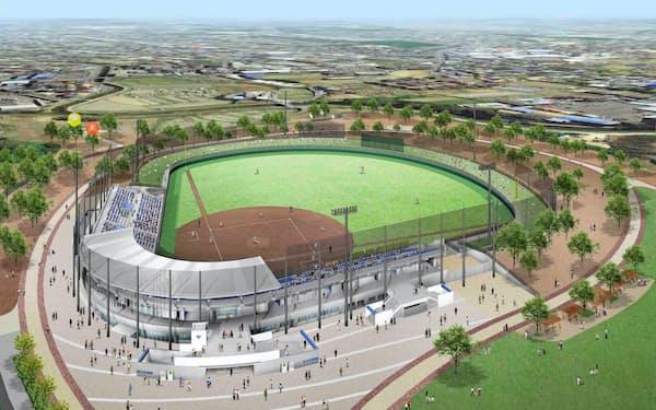 2020年4月にオープンする原池公園野球場の完成イメージ図