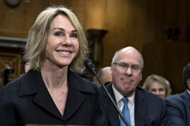 米国連大使に就任するケリー・クラフト氏(6月、米上院での公聴会)=AP