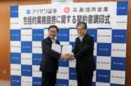 包括的業務提携を結んだ三島信金の平井理事長(右)と藍沢証券の藍沢社長(1日)