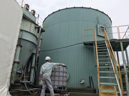 ちよだ製作所のプラントでは、廃棄うどんなどを発酵させてメタンガスを生成する(高松市)