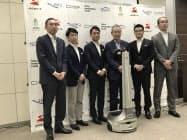 物流スタートアップのGROUND(東京・江東)への出資に関して都内で記者説明会を開いた