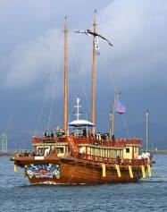 韓国で復元された朝鮮王朝の外交使節「朝鮮通信使」の木造船=共同