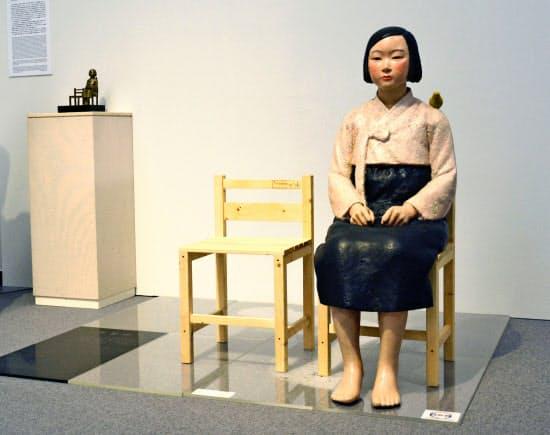 国際芸術祭「あいちトリエンナーレ2019」で展示されていた「平和の少女像」(名古屋市の愛知芸術文化センター)=共同