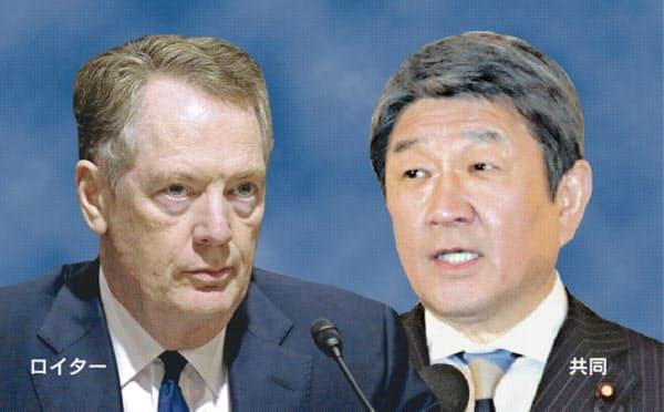 ライトハイザー米通商代表(左=ロイター)と、茂木外相=共同=は23日夜(日本時間24日午前)に会談した