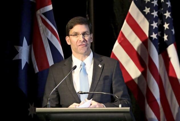 エスパー米国防長官は7月下旬の有志連合の説明会に30カ国以上が参加したと明らかにしていた(4日、シドニー)=AP