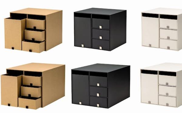 プラスが13日に発売する紙製収納ボックス「リビングポスト2」(色は左からクラフト、スモークグレー、クリームホワイト)