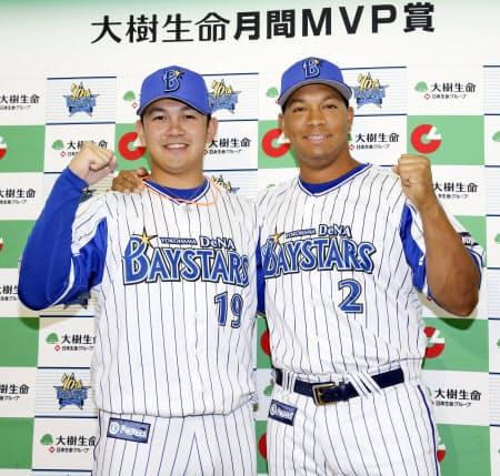 7月の月間MVPに選ばれ、ポーズをとるDeNA・山崎(左)とロペス(横浜)=共同