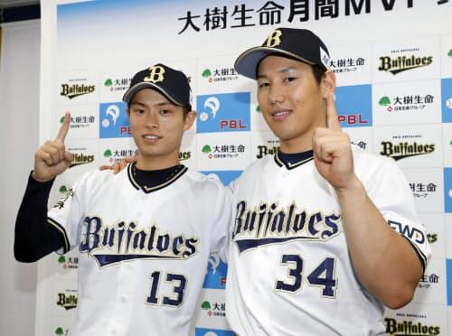 7月の月間MVPに選ばれ、ポーズをとるオリックス・山岡(左)と吉田正(京セラドーム)=共同