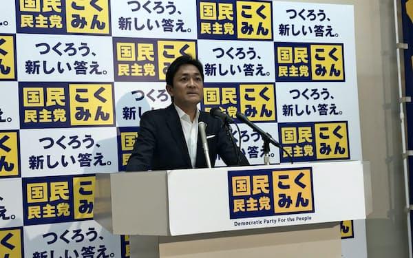 記者会見する国民民主の玉木雄一郎代表(7日、国会内)