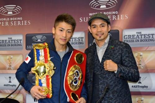 11月7日に決勝で対戦する井上尚弥(左)とノニト・ドネア(5月、英国グラスゴー)