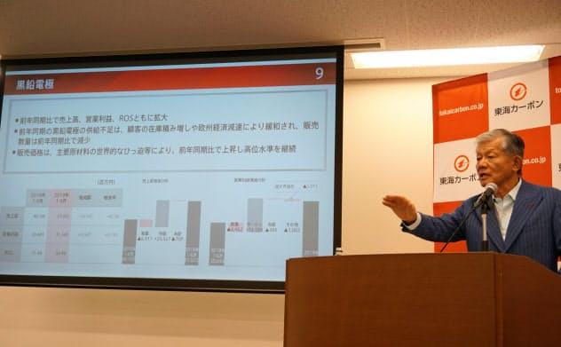 決算説明会で黒鉛電極事業について説明する長坂一社長(東京・港)