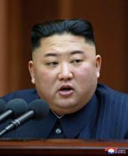 4月12日の最高人民会議で施政演説する金正恩委員長=朝鮮中央通信