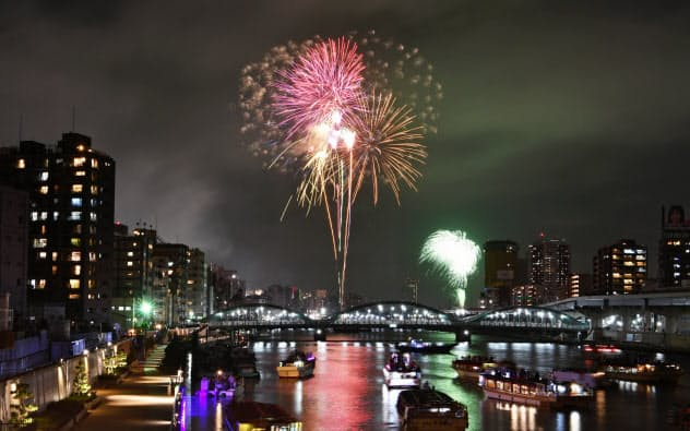 隅田川の花火大会(7月、東京都台東区)