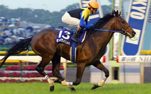 安藤勝己騎手騎乗で2004年のNHKマイルカップを勝ったキングカメハメハ(東京競馬場)=共同
