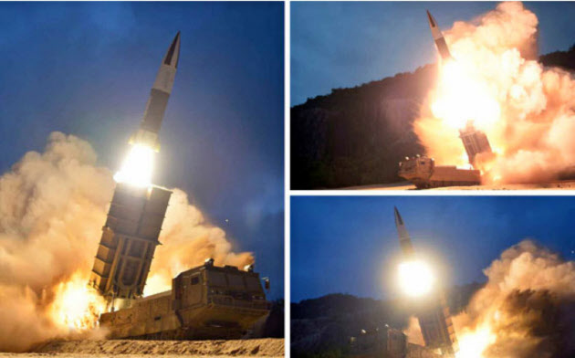 10日の飛翔体発射に関連して北朝鮮メディアが公開した写真=労働新聞ウェブサイトから