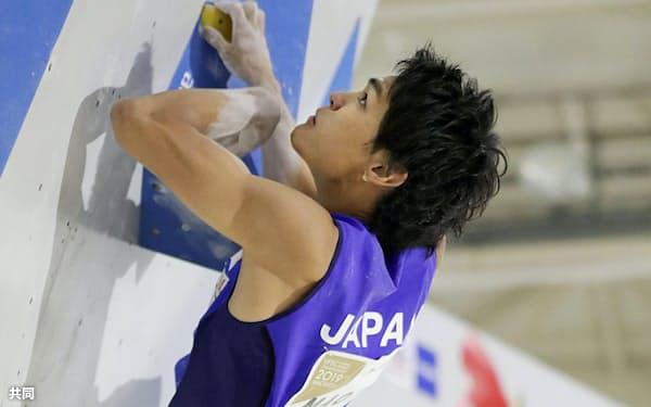 男子ボルダリング予選の楢崎智亜(12日、エスフォルタアリーナ八王子)=共同