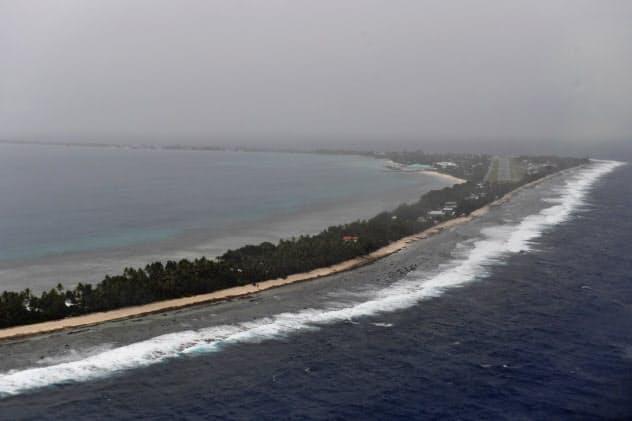 太平洋島しょ国は海面上昇による水没の危険性にさらされている(13日、ツバル)=AAP