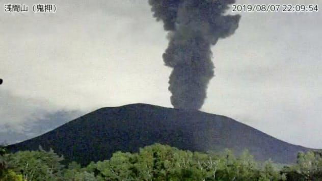 7日夜に突然噴火した浅間山=気象庁のホームページより
