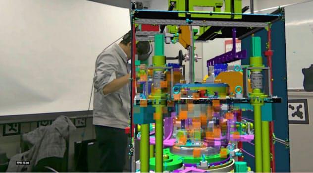 MRゴーグルをつけると、どのような姿勢で作業できるか確認できる