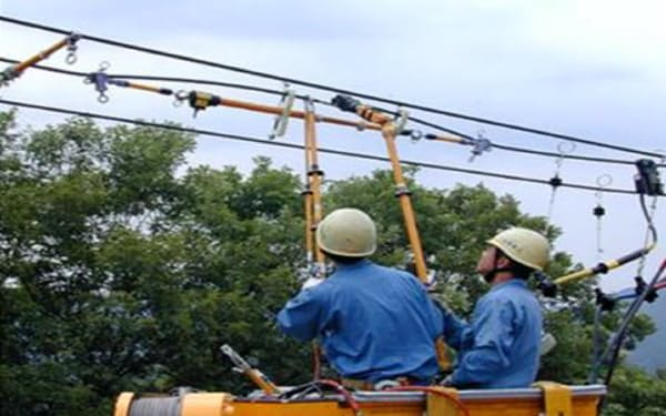従来は電線の被覆をはぐ作業や、電線を切断する作業に使う重い工具を人が支えていた