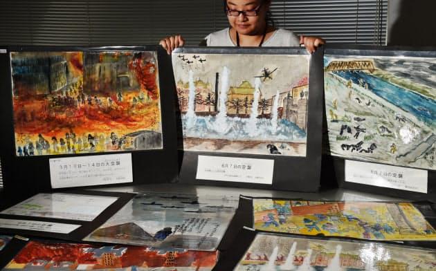 空襲を体験した人たちが寄贈した体験画(大阪市中央区)