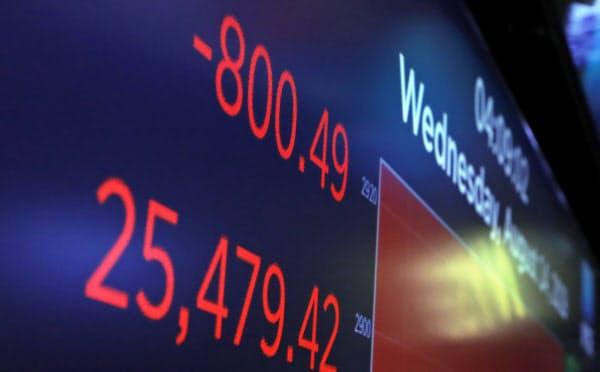 ダウ平均は800ドル安と下げ幅は今年最大で、ほぼ10カ月ぶりの大きさだった(ニューヨーク証券取引所)=AP
