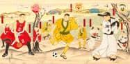 3チームの選手やキャラクターを浮世絵風にデザインした