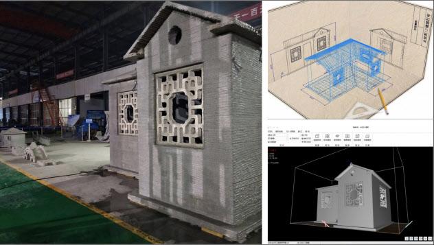 3Dプリンターで作られた建築物(太空灰提供)