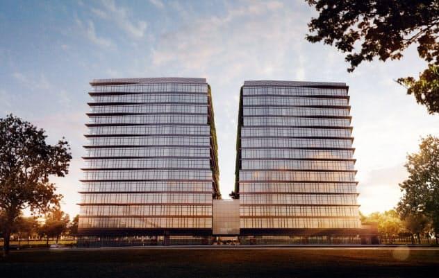 三菱地所が建設に参画するフィリピンのマニラ首都圏のオフィスビルの完成イメージ(右側がノースタワー)