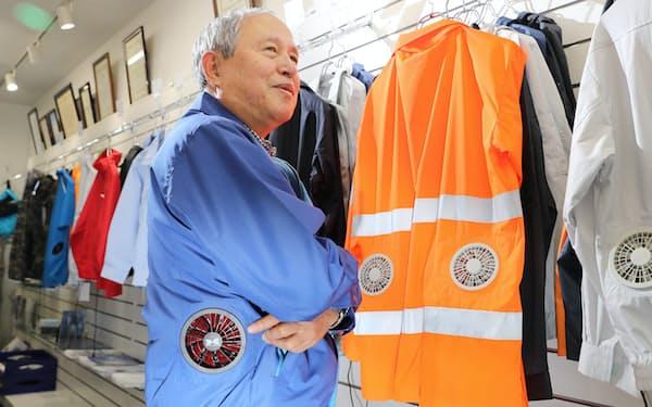 「空調服」の開発者、市ケ谷弘司さん(写真 小園雅之)