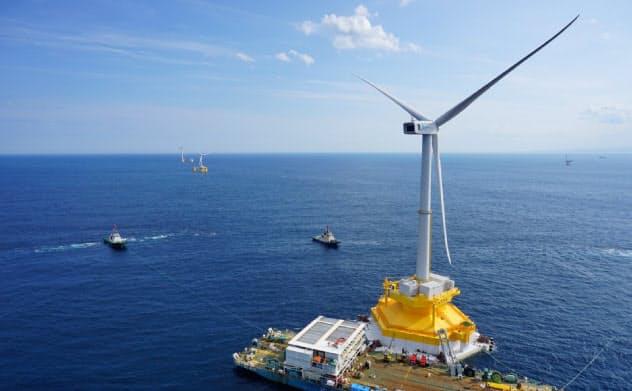 日立製作所は風力発電機の生産から撤退する(日立が建設した福島県沖の洋上風力発電施設=資源エネルギー庁提供)