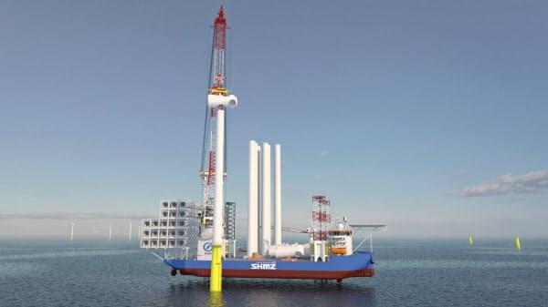 着床式の洋上風力発電装置を設置するには専用の船が必要となる(イメージ)