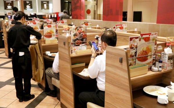 一人用に用意されたボックス席(東京都港区のガスト新橋店)